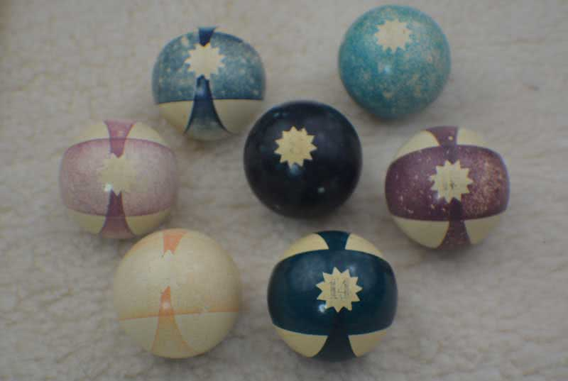 Antique Clay Burt Double Stripe Pool Balls With Star Pattern