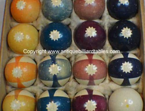 Antique Clay Burt Double-Stripe Pool Ball Set With Gear Pattern