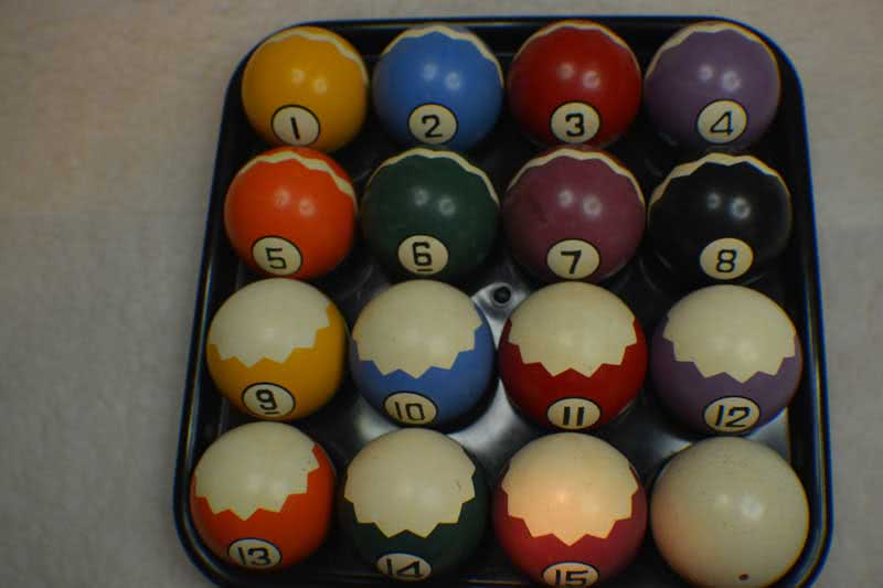 Antique Clay Zig Zag Pool Ball Set