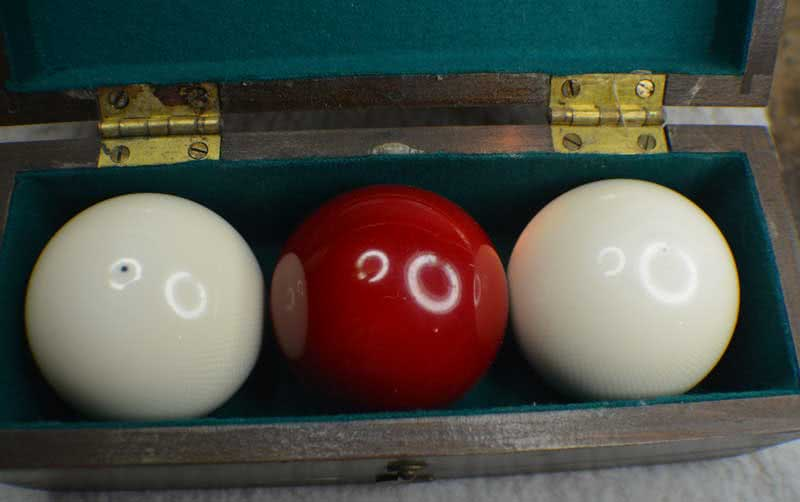 Antique Zanzibar Clear Grade Ivory Billiard Ball Set