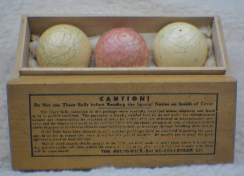 Antique Brunswick Balke Collender Company Ivory Billiard Ball Set In Original Wooden Box c1880's.