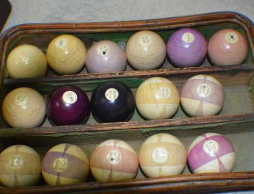 Antique Zanzibar Ivory Burt Double Beach Ball Stripe Pool Ball Set With Triangle.