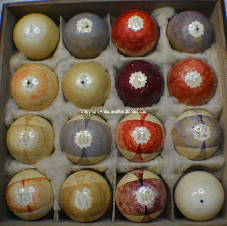 Antique Ivory Burt Double-Stripe Star Flower Pattern Pool Ball Set