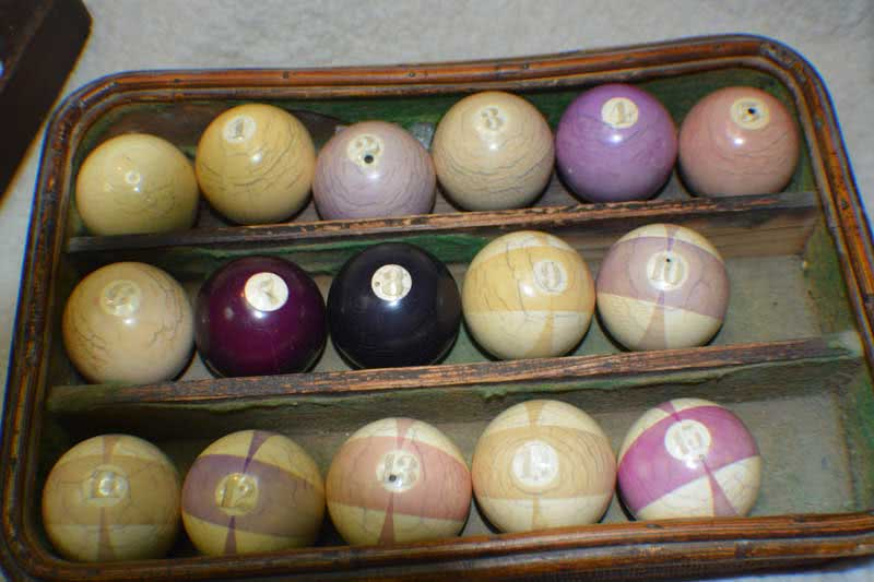 Antique Ivory Burt Double Stripe Pool Ball Set With Triangle