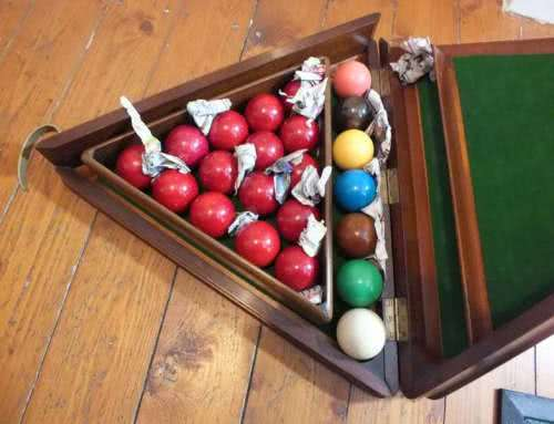 Antique Ivory Snooker Ball Set With Original Wooden Case