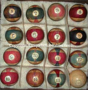 Antique Ivory Burt triple stripe pool ball set