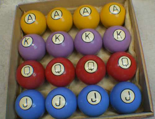 Antique Clay Poker Pool Ball Set With Box.