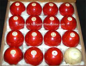 Antique Red Ivory Numbered Pool Ball Set