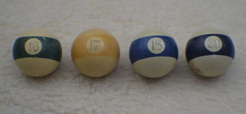 Antique Billiard Pool Clay Scrimshaw Number Baseballs #16, #17, #18 & #20 c 1800s
