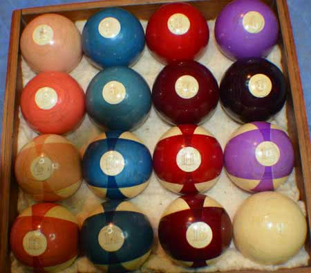 Antique Zanzibar Ivory 15 Ball Numbered Pool Ball Set With Box