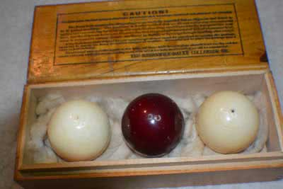 Antique Ivory Billiard Ball Set With Box