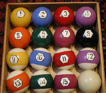 Antique Clay Direct Site Pool Ball Set With Box