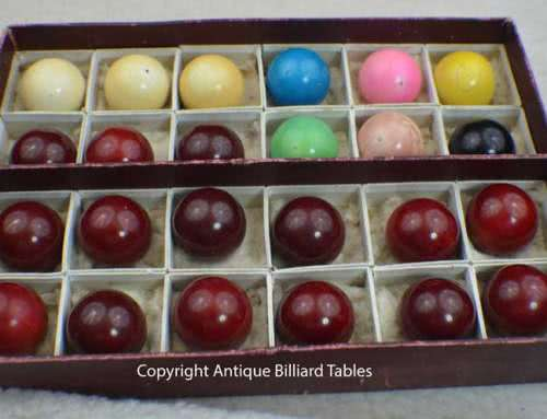 Antique Ivory Snooker Ball Set With Original Label Box c1880's