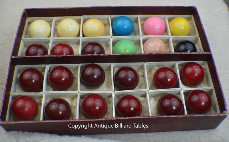 Antique Ivory Snooker Ball Set With Original Label Box Brunswick Pool Billiard c1880's