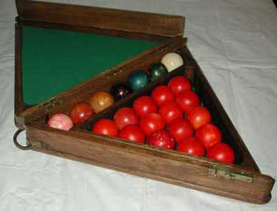 Antique Ivory Snooker Ball Set With Wooden Case