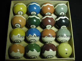 Antique Clay Wave O Lene Pool Ball Set