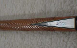 Antique Brunswick Carved Butt 26 1/2 Titlist Points Pool Cue