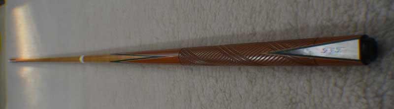 Antique Brunswick Carved Butt 26 1/2 Pool Cue c1915