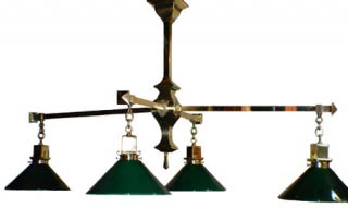 Antique Arts & Crafts Brass Billiard Chandelier