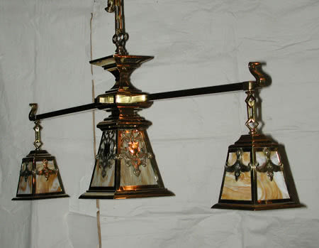 Antique Arts & Crafts Mission Pool Table Light Chandelier