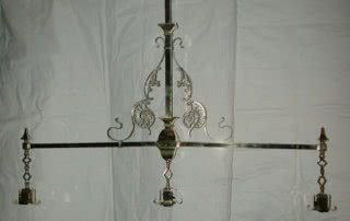 Antique Arts & Crafts Brass & Silver Filigree Pool Table Light