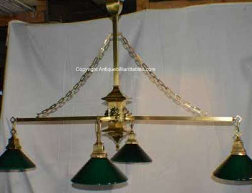 Antique Brass Lion Head Four Arm Billiard Table Chandelier