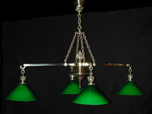 Antique Victorian Cast Bronze Pool Table Light