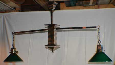 Antique Copper Japanned Finish Two Arm Billiard Light