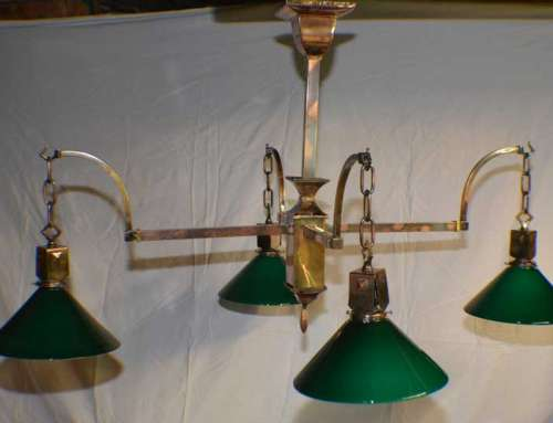 Antique Copper Japanned Finish Billiard Chandelier c1890s