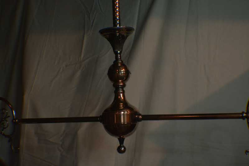 Antique Copper Japanned Finish Billiard Chandelier, Dated c1890