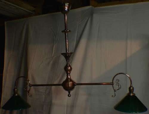 Antique Copper Japanned Finish Billiard Chandelier