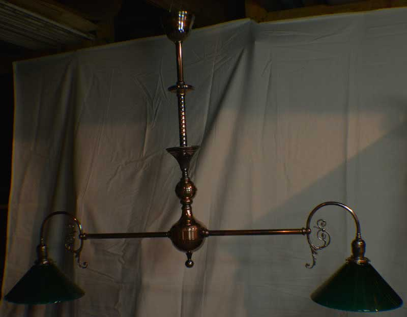 Antique Copper Japanned Finish Billiard Chandelier Dated c1890
