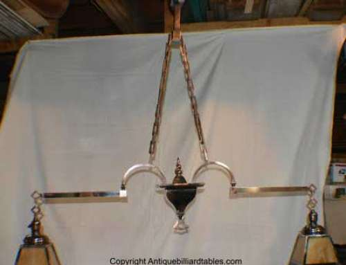 Antique Copper Japanned Finish Two Arm Billiard Chandelier