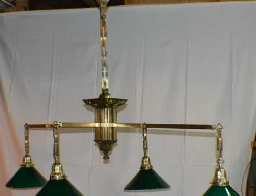Antique Sheffield Brass Four Arm Billiard Table Light