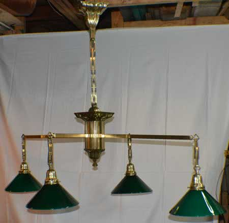 Antique Sheffield Brass Four Arm Billiard Table Chandelier
