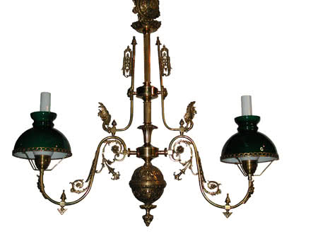 French Empire Bronze Billiard Table Chandelier