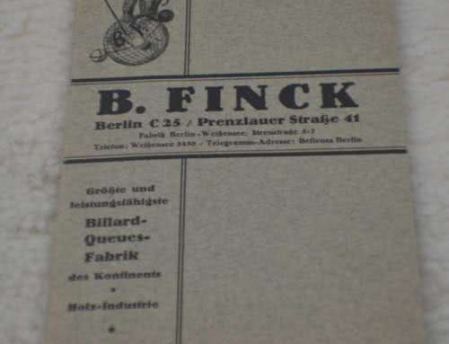 Antique B Finck Berlin Germany Billiard Pool Cue Catalog c1839
