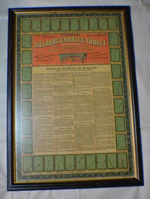 Antique Billiard Charles Toulet Colored Chromo Lithograph Rules Poster