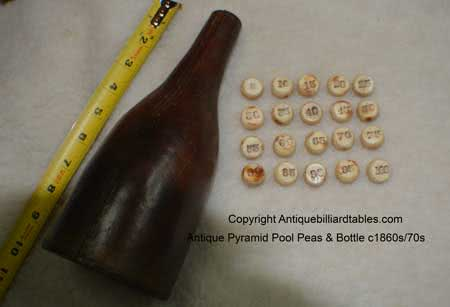 Antique Pyramid Pool Game Bottle & Numbered Peas