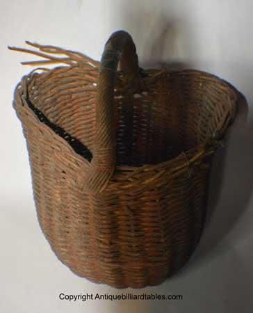 Antique Billiard Wicker Pool Ball Basket