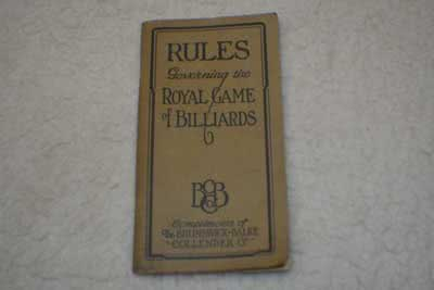Antique Brunswick Balke Collender Billiard Rules Booklet