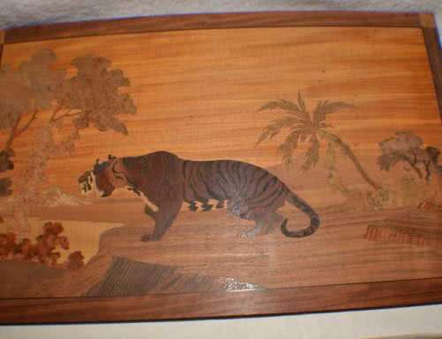 Antique Brunswick Balke Collender – Tiger Marquetry Picture