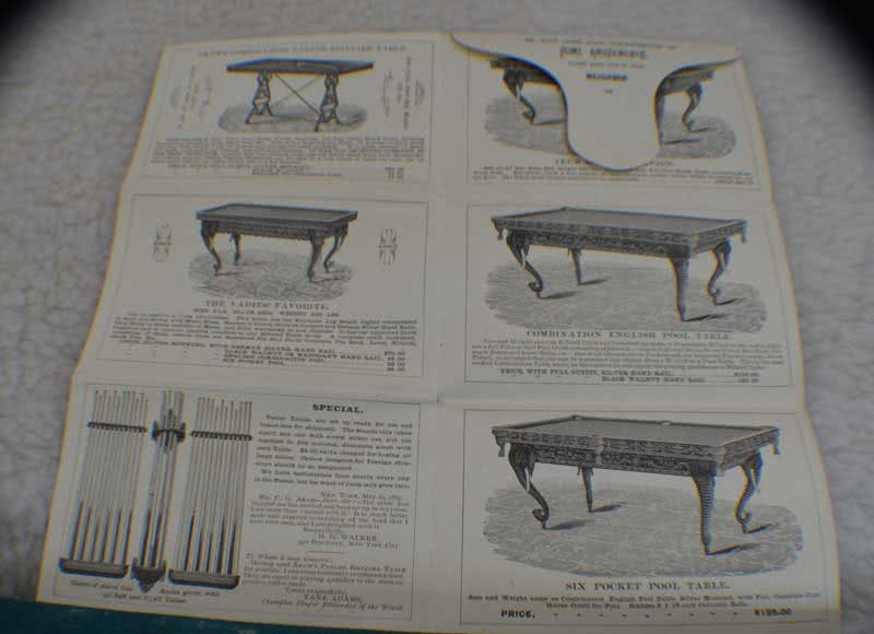 Antique C G Akam MFG Billiard Table Catalog