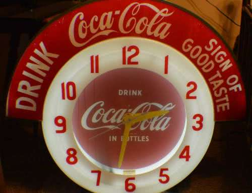 Antique Drink Coca Cola Neon Clock Lighted Marquee