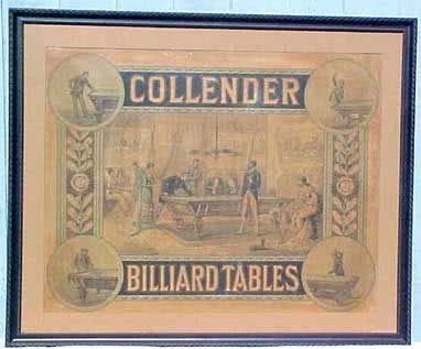 Antique Collender Billiard Tables Poster 1870s