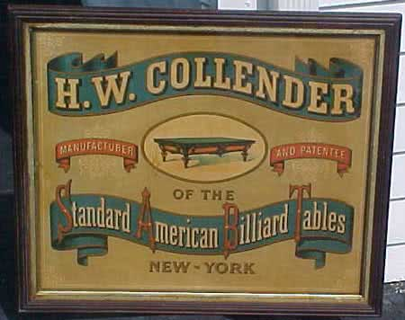 Antique H.W. Collender Billiard Poster c1870s