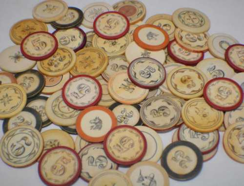 Antique Ivory Poker Chips Old West Saloon c1880s