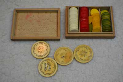 Antique Ivory Poker Chips With Wooden Box