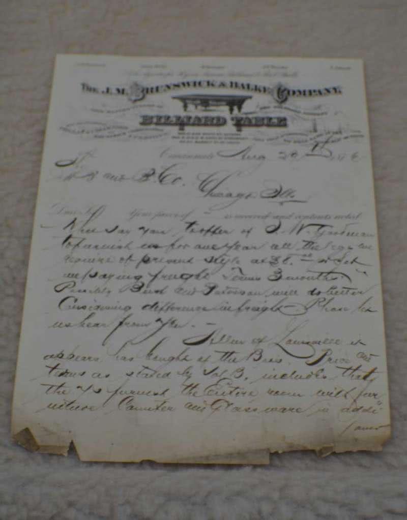 Antique J M Brunswick Pool Tables Letterhead