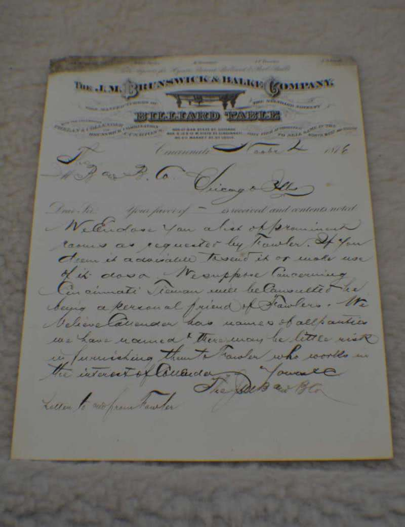 Antique J M Brunswick Letterhead c 1876. Museum Billiard Room Game Room Decor